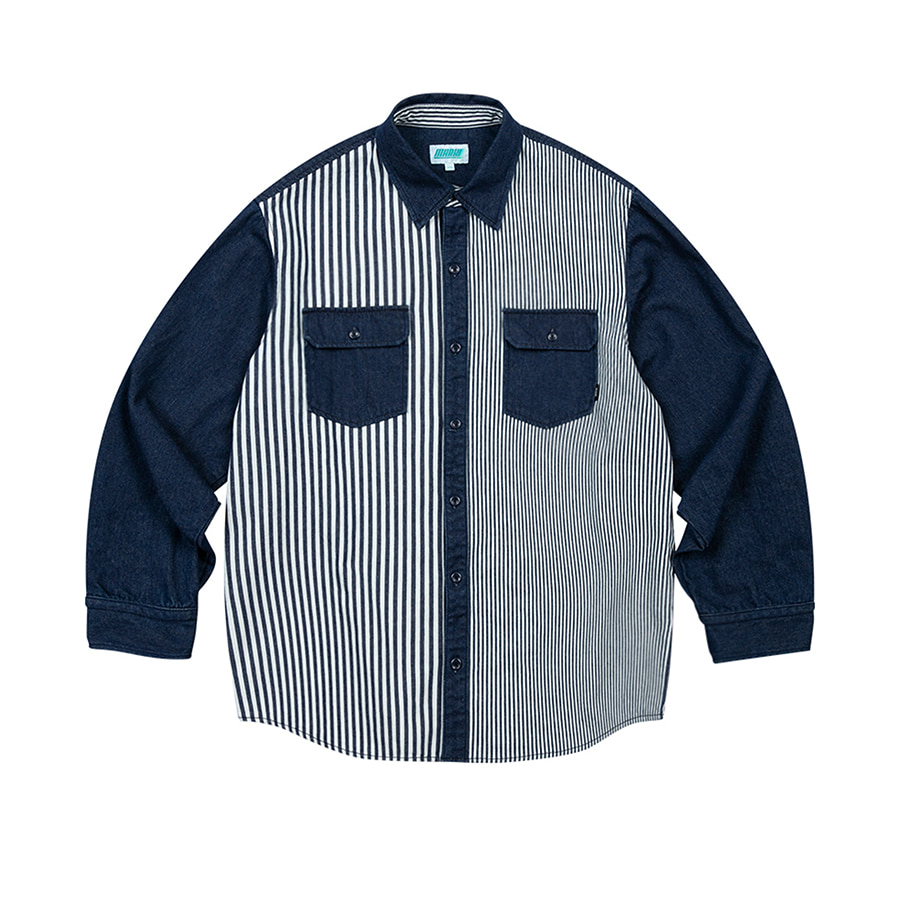 Stripe Denim Overfit Shirts Blue