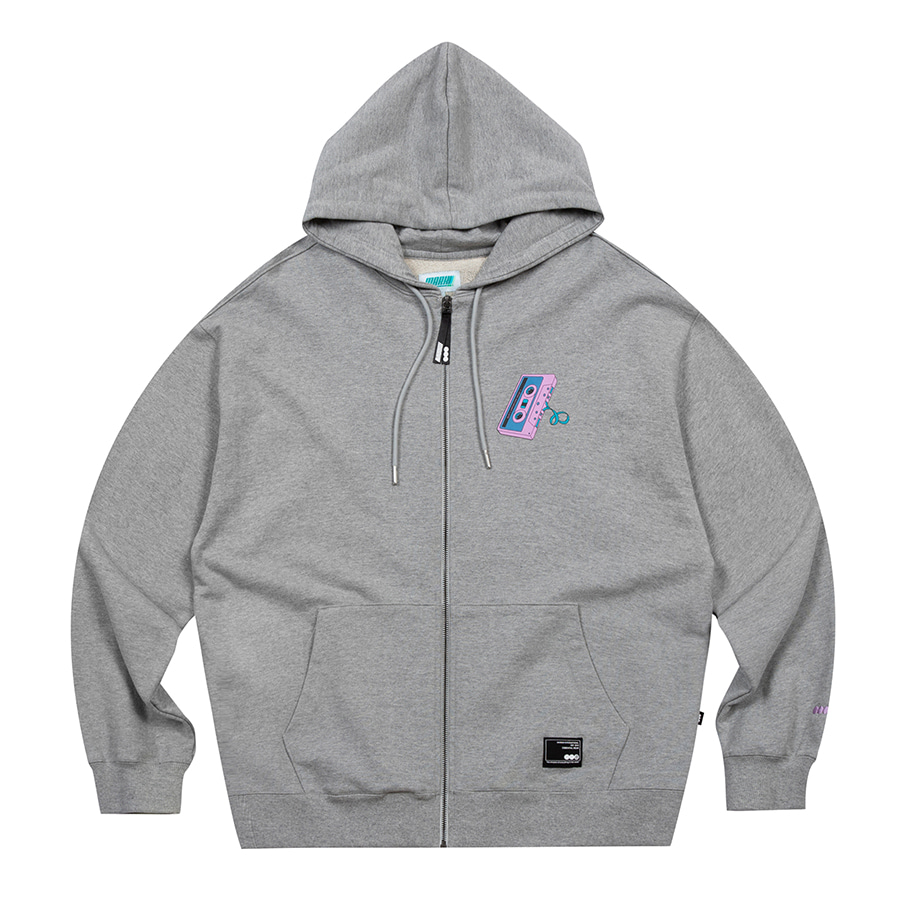 Tape Zip-Up Hoodie Grey Melange