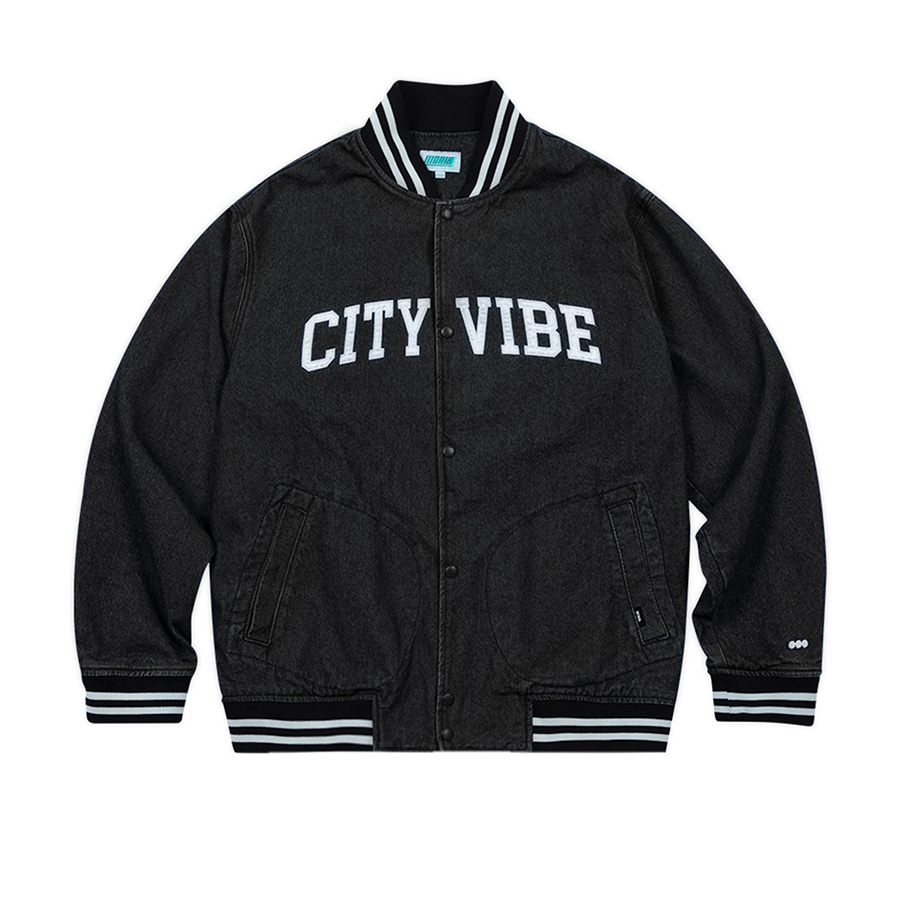 City Vibe Denim Stadium Jacket Black