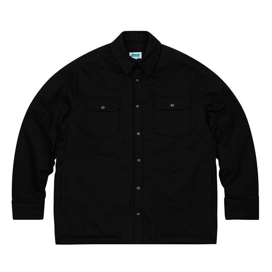 Oversize Quilted Shirts Jacket Black