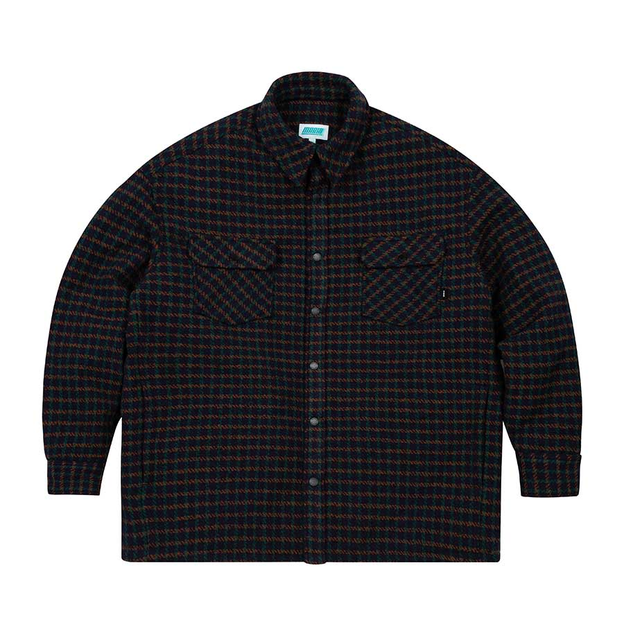 Oversize Quilted Shirts Jacket Navy Print