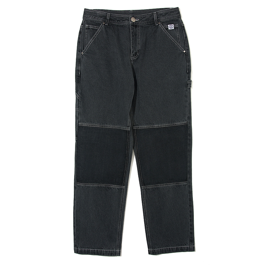 Patch Stone Washed Denim Pants Gray