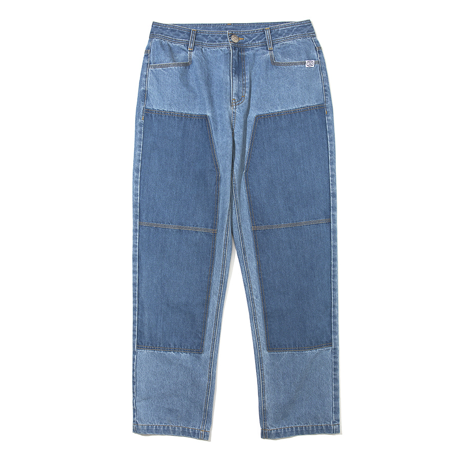 Double Knee Denim Pants Blue
