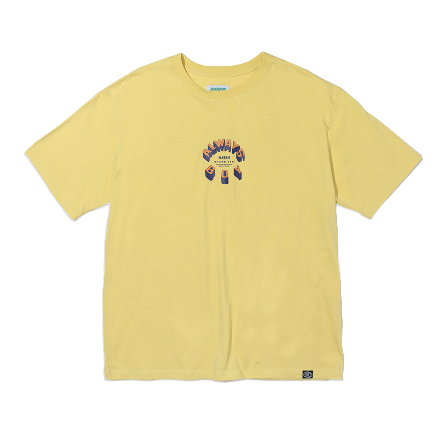 Circle Slogan T-Shirts Light Yellow