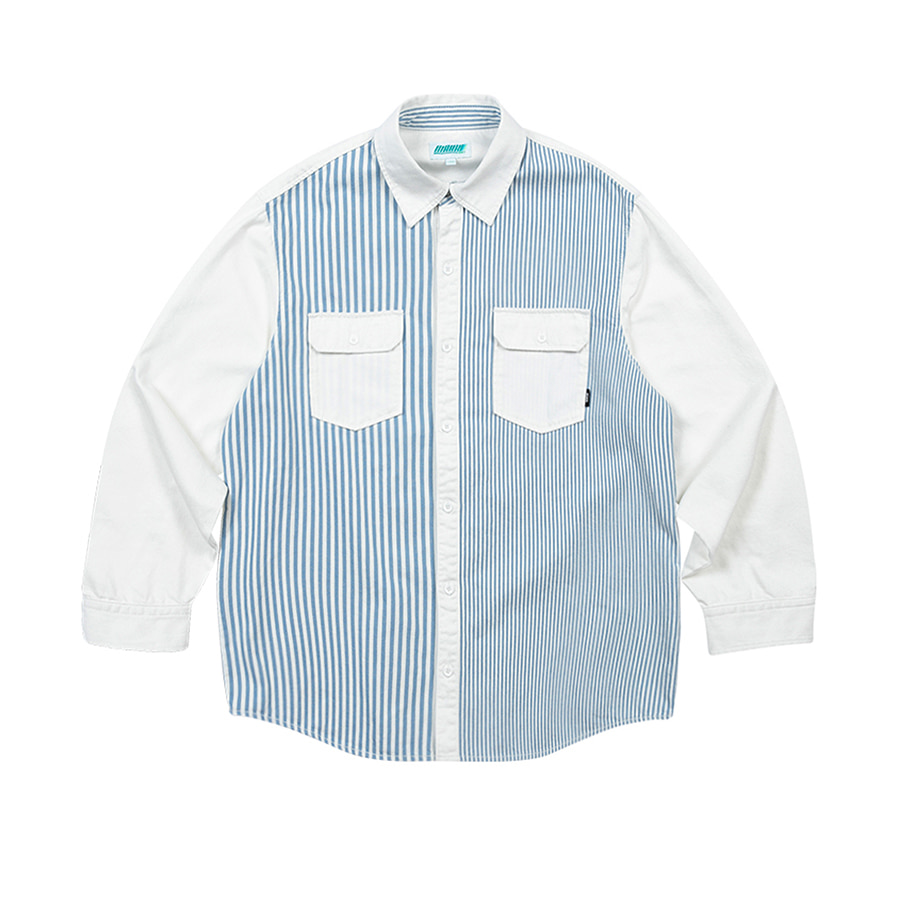 Stripe Denim Overfit Shirts White