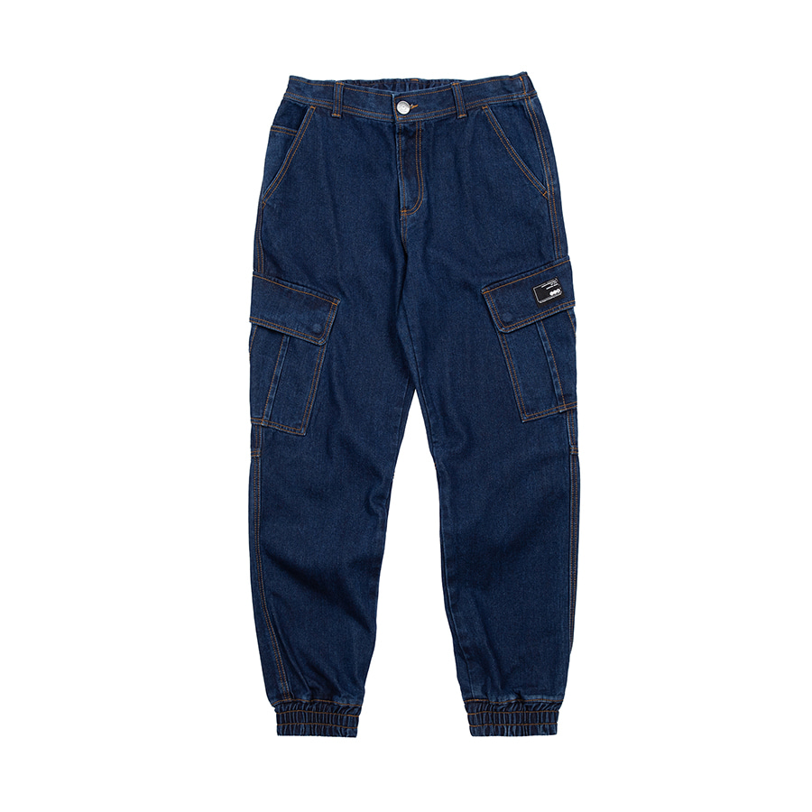 Denim Cargo Jogger Pants Blue