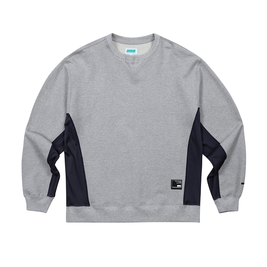 Side Mesh Crewneck Grey Melange