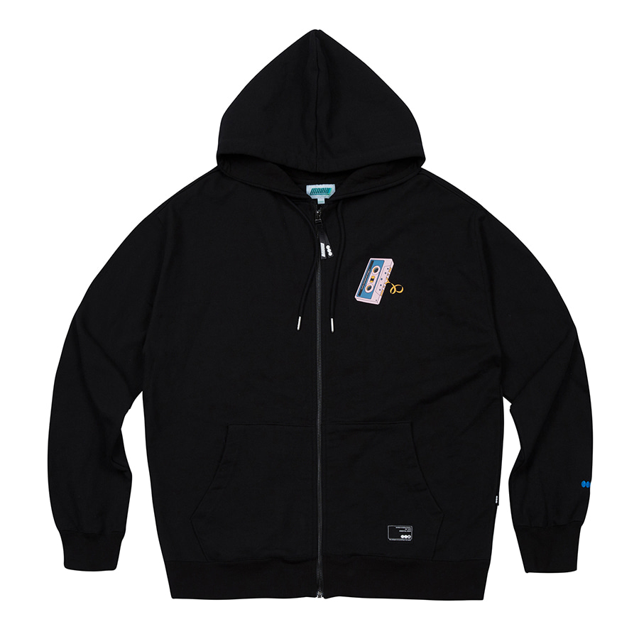 Tape Zip-Up Hoodie Black