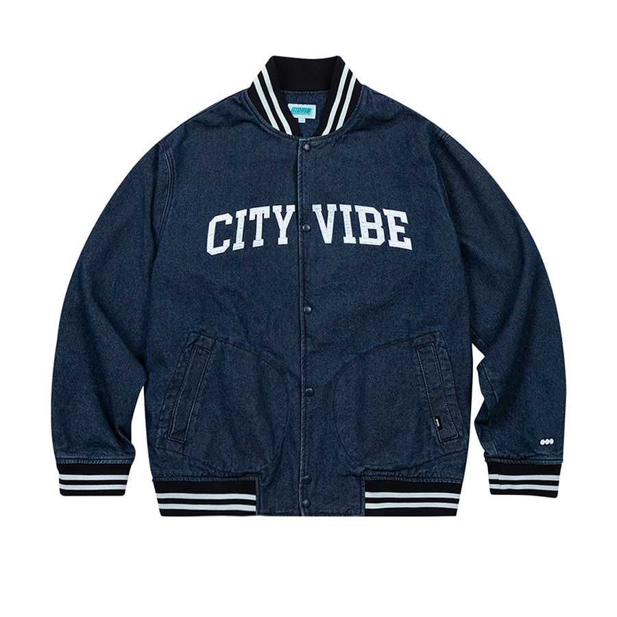 City Vibe Denim Stadium Jacket Blue
