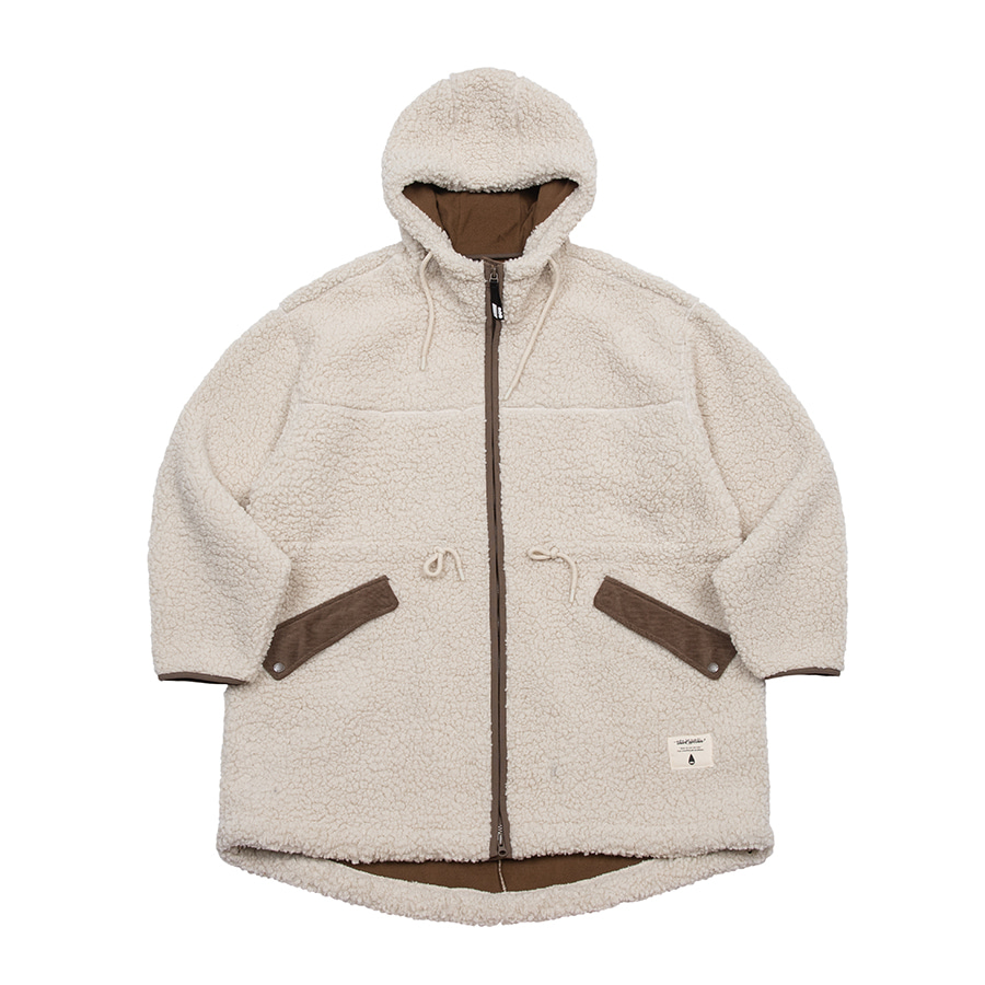 Boa Fleece Fishtail Jacket Beige